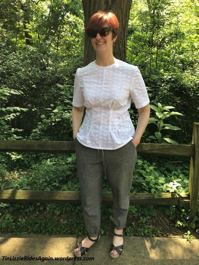 White embroidered tucked Butterick 5890 short sleeve blouse with gray linen drawstring Burda 6678 drawstring pants, black Dansko sandals